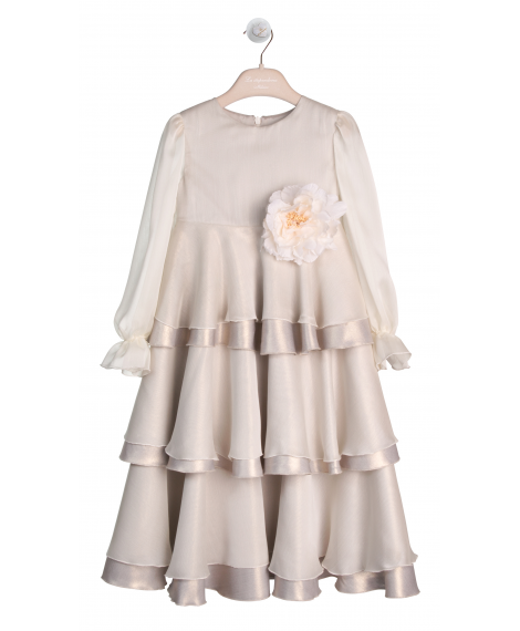 DRESS WITH FRILLS AND FLOWER