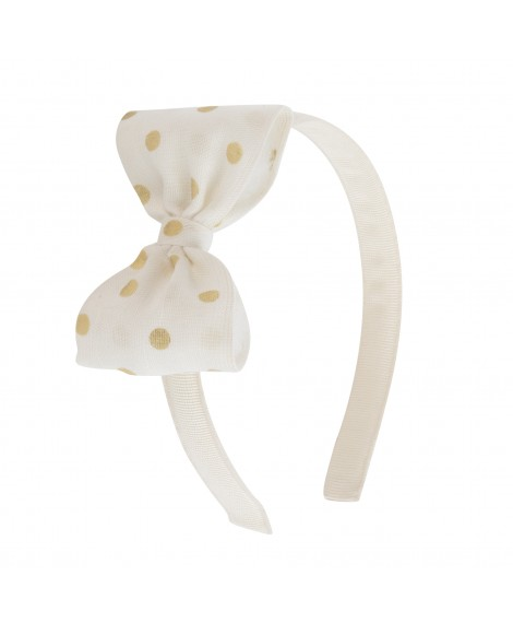 HEADBAND WITH GOLD POLKA DOT