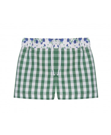 GREEN COTTON GINGHAM SWIMMING COSTUME