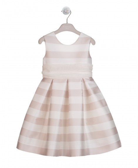 PINK AND CREAM DRESS WITH PLEATS