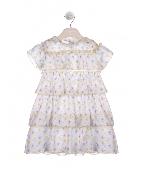 SHEER FLORAL TIERED DRESS