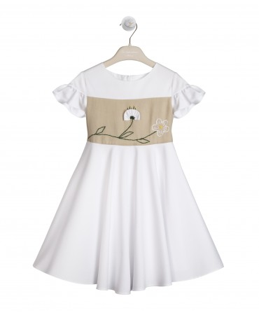 WHITE AND SAND  DRESS