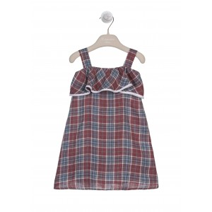 BURGUNDY AND WHITE LINEN TARTAN DRESS