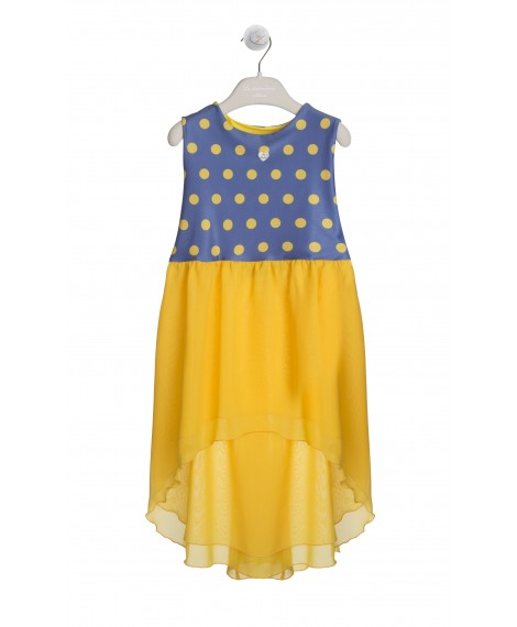 YELLOW AND NAVY BEACH COVER-UP DRESS
