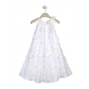 WHITE AND CREAM COTTON EMBROIDERED DRESS