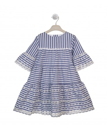 BLUE AND WHITE FLOUNCED DRESS