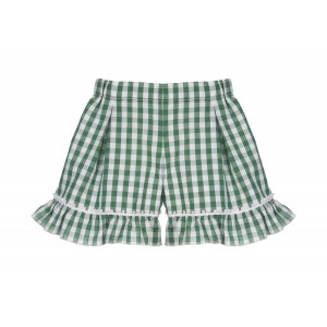 GREEN GINGHAM SHORTS
