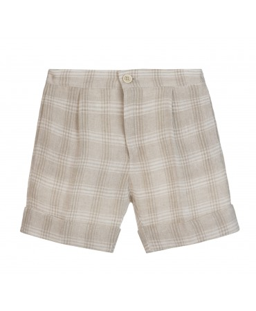 LIGHT BEIGE LINEN TARTAN BERMUDA SHORTS