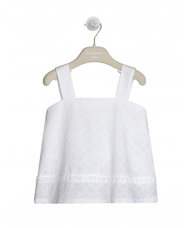 WHITE COTTON SANGALLO TOP