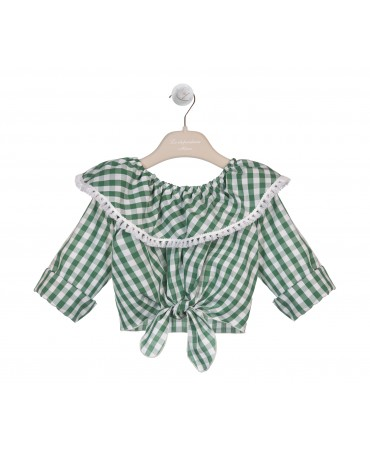 GREEN COTTON GINGHAM TOP