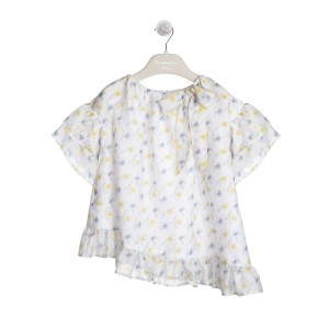 ASSYMETRIC WHITE, YELLOW AND BLUE BLOUSE
