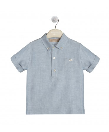 BLUE POLO SHIRT IN VISCOSE