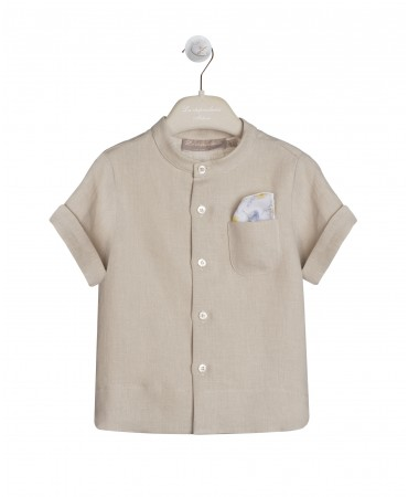 SAND LINEN SHIRT WITH MANDARIN COLLAR