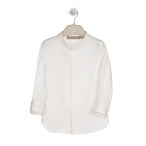 CREAM LINEN SHIRT WITH MANDARIN COLLAR