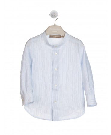 LIGHT BLUE LINEN SHIRT WITH MANDARIN COLLAR