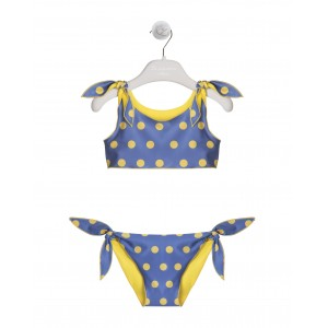 YELLOW AND BLUE TWO-PIECE SWIMSUIT