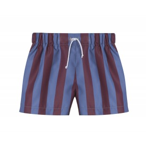 STRIPED BORDEAUX AND NAVY SWIMMING COSTUME