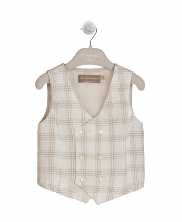DOUBLE-BREASTED LIGHT BEIGE AND SAND WAISTCOAT