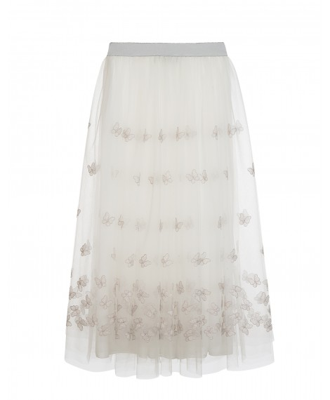 LONG WHITE AND SILVER EMBROIDERED TULLE SKIRT