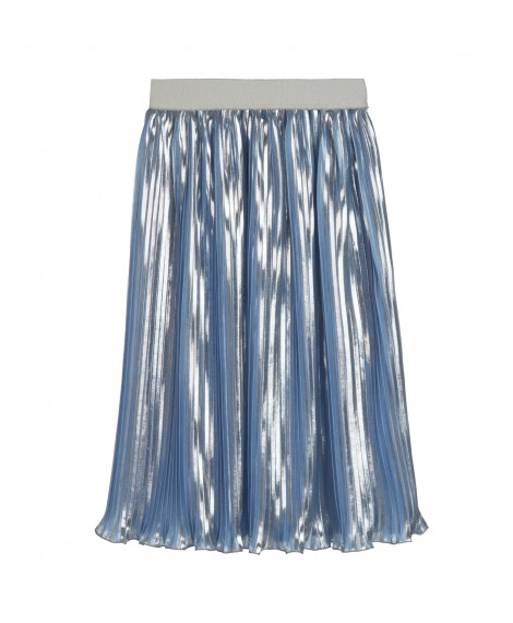 BLUE AND SILVER LAMINATED PLEATED SKIRT