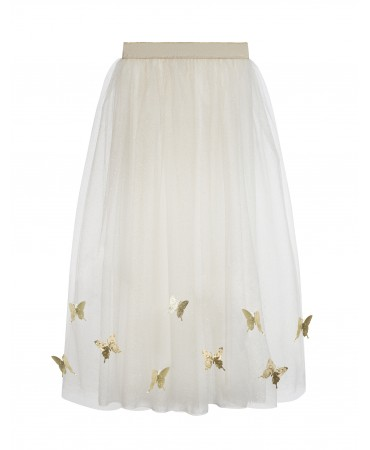 LONG CREAM AND GOLD SKIRT