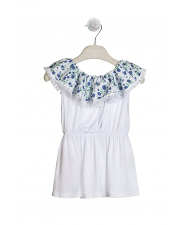 WHITE, GREEN AND BLUE FLORAL TOP