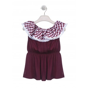 TOP CON  VOLANT BORDEAUX/BIANCO