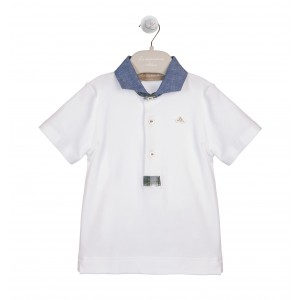 WHITE AND BLUE POLO SHIRT