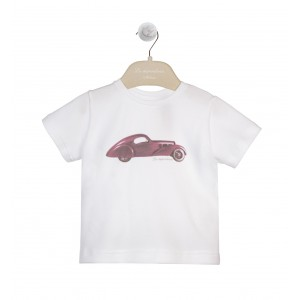 WHITE AND BURGUNDY PIQUET JERSEY T-SHIRT