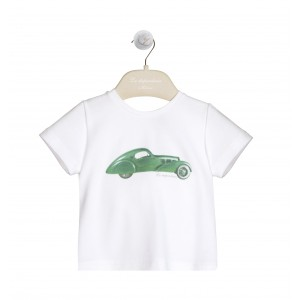 T-SHIRT CON STAMPA BIANCO/VERDE