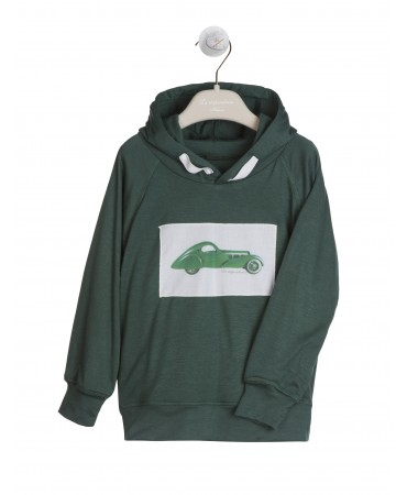 GREEN JERSEY HOODED SWEATSHIRT