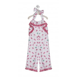 WHITE AND FUCHSIA PRINTED ANKLE LENGTH JUMPSUIT