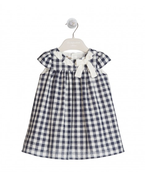 BLUE AND IVORY GINGHAM DRESS