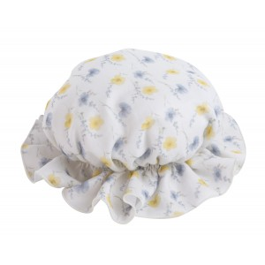 SHEER WHITE, YELLOW AND BLUE FLORAL BONNET