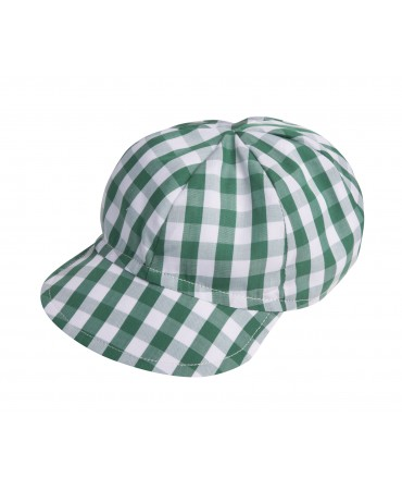 GREEN GINGHAM HAT WITH BRIM