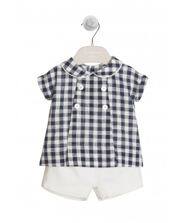 NAVY AND WHITE GINGHAM SHIRT