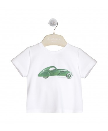 WHITE AND GREEN PIQUET JERSEY T-SHIRT