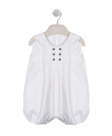 WHITE COTTON PIQUE ROMPER