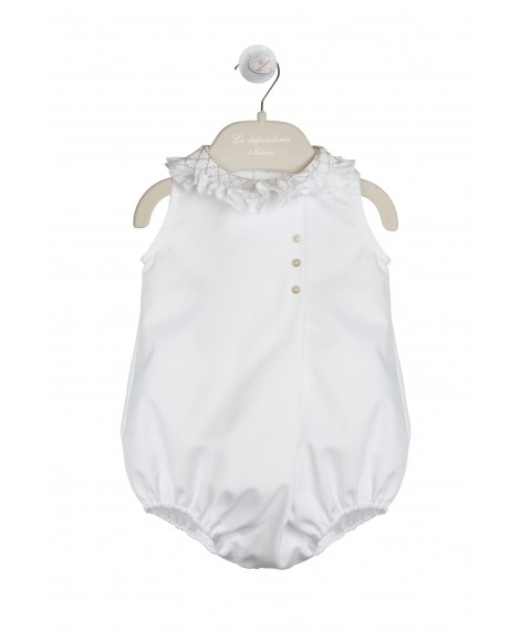 WHITE AND SAND PIQUET ROMPER
