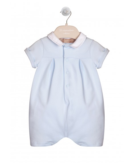 BLUE AND WHITE JERSEY PIQUET OVERALL