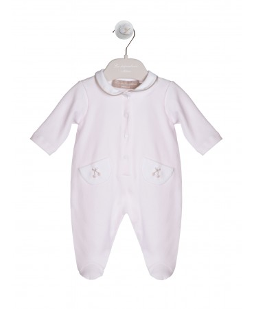 PINK AND WHITE JERSEY PIQUET OVERALL