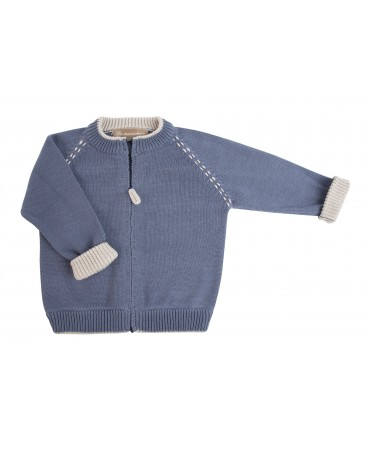 BLUE AND SAND COTTON CARDIGAN