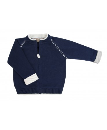 NAVY AND IVORY COTTON CARDIGAN