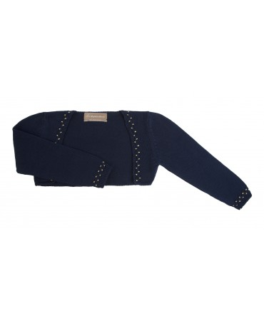 NAVY AND GOLD KNITTEN COTTON BOLERO