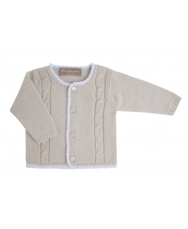 WHITE AND SAND COTTON CARDIGAN