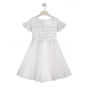WHITE DRESS WITH DAISY EMBROIDERY