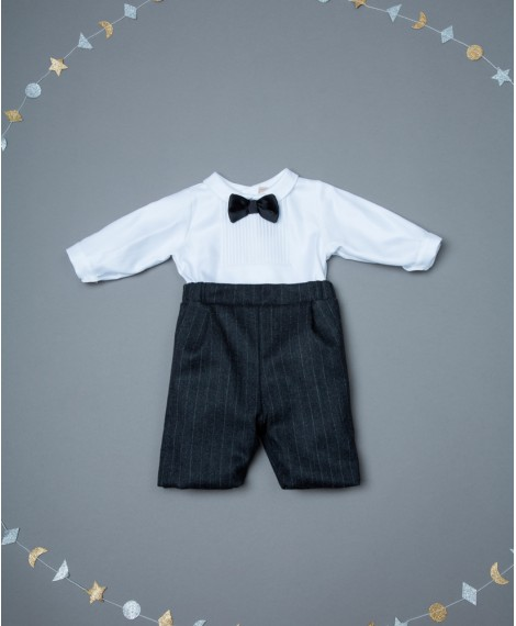 CHARCOAL ROMPER WITH BOW TIE