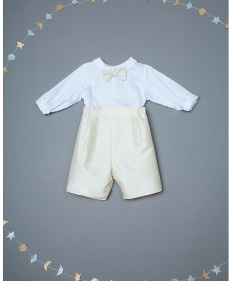 IVORY ROMPER WITH BOW TIE