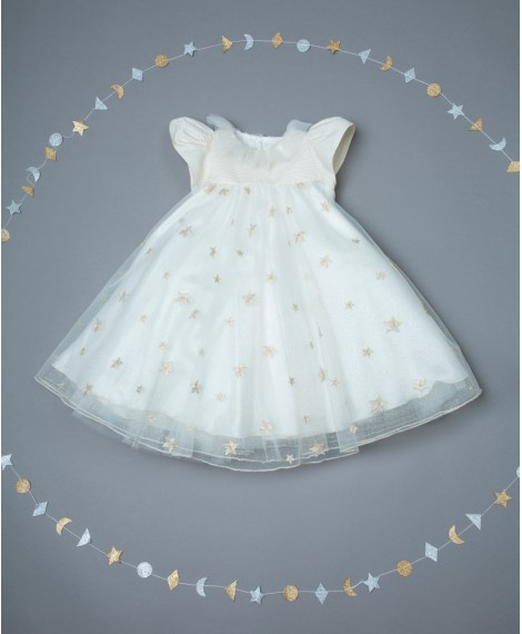 IVORY DRESS WITH STAR EMBROIDERED TULLE
