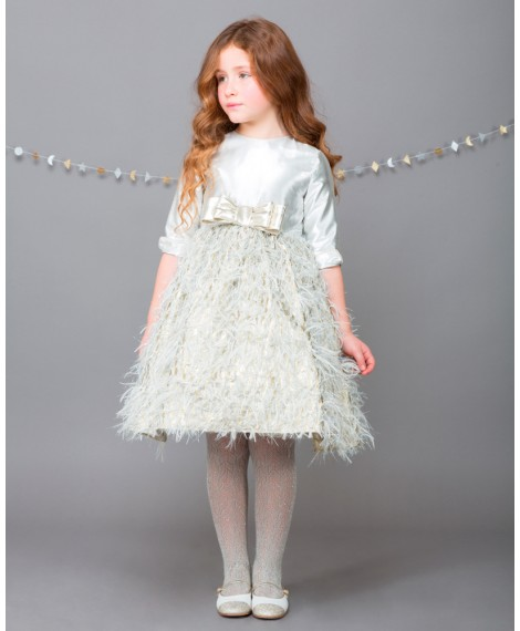 SILVER DRESS WITH DOUBLE BOW